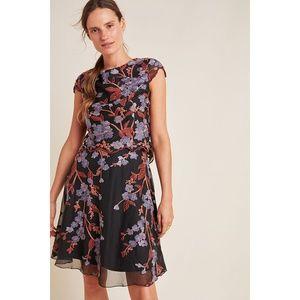 Alessia Embroidered Chiffon Mini Dress Anthro